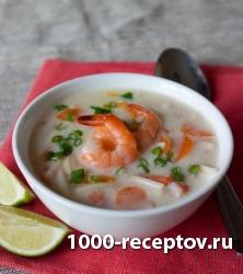 Креветочный суп на молоке