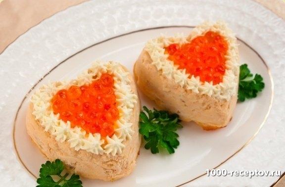 рыбное суфле в форме сердечек