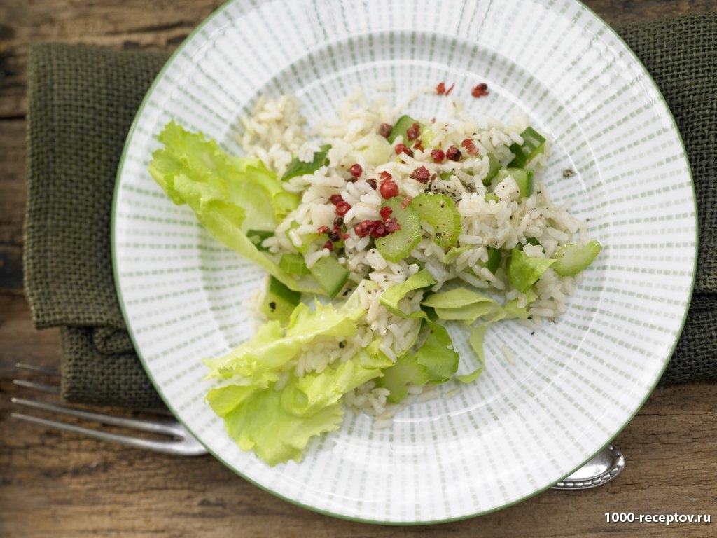 в тарелке рис с салатом